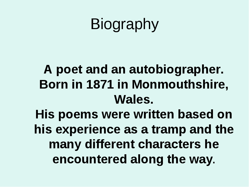 Biography A poet and an autobiographer. Born in 1871 in Monmouthshire, Wales....