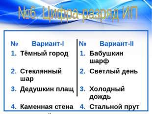 №Вариант-I№Вариант-II 1.Тёмный город1.Бабушкин шарф 2.Стеклянный шар2