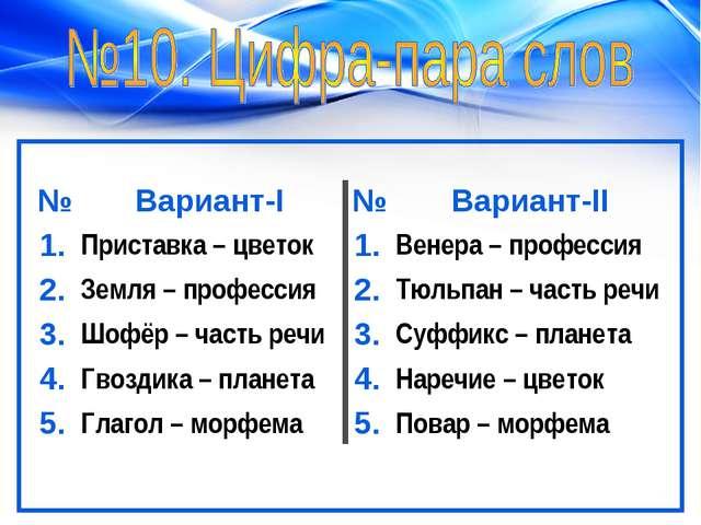 №Вариант-I№Вариант-II 1.Приставка – цветок1.Венера – профессия 2.Земля...