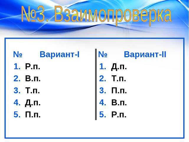 №Вариант-I№Вариант-II 1.Р.п.1.Д.п. 2.В.п.2.Т.п. 3.Т.п.3.П.п. 4.Д...