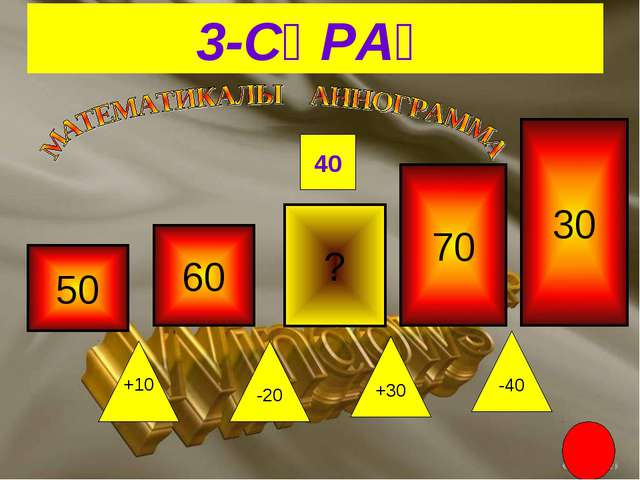 3-СҰРАҚ ? +10 -40 +30 -20 40