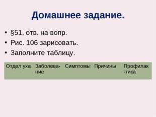 Домашнее задание. §51, отв. на вопр. Рис. 106 зарисовать. Заполните таблицу.
