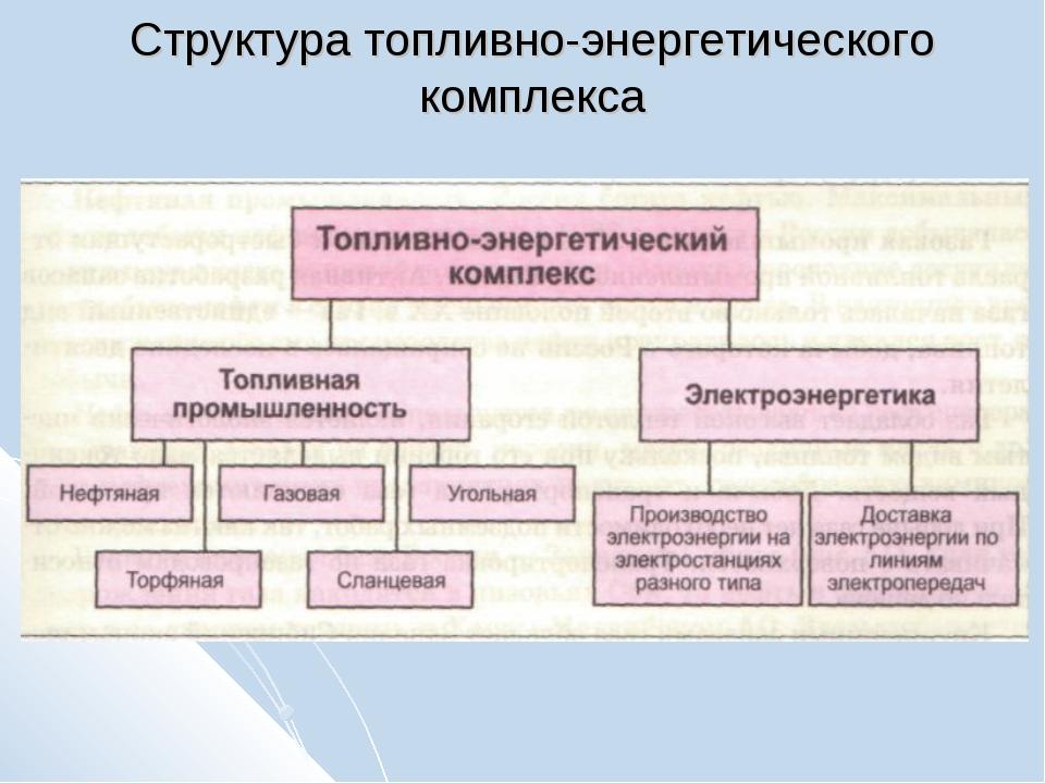 Структура топливно-энергетического комплекса