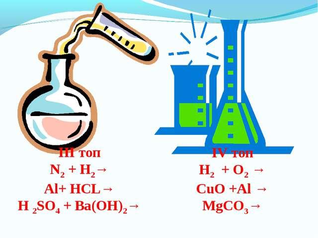 ІІІ топ N2 + H2→ Al+ HCL→ H 2SO4 + Ba(OH)2→ ІV топ H2 + O2 → CuO +Al → MgCO3→