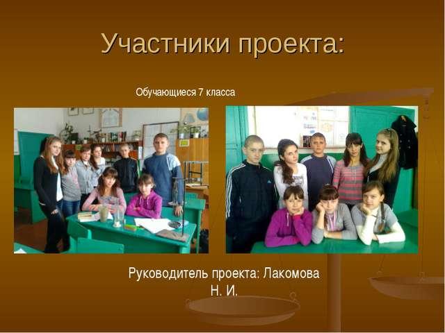 Участники проекта: Руководитель проекта: Лакомова Н. И. Обучающиеся 7 класса