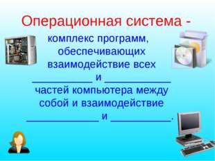 Операционная система - комплекс программ, обеспечивающих взаимодействие всех