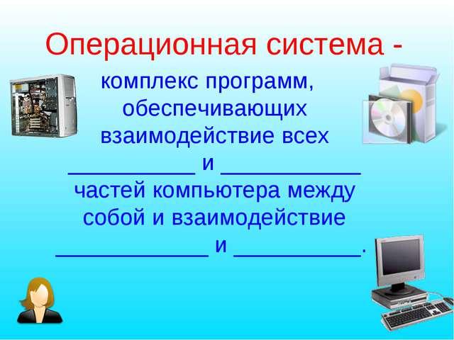 Операционная система - комплекс программ, обеспечивающих взаимодействие всех...