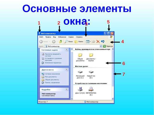 Основные элементы окна: