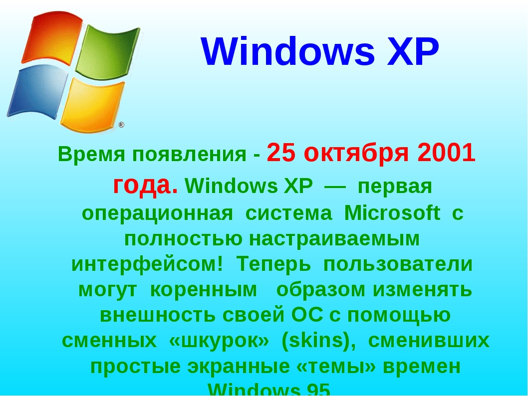 Windows XP Время появления - 25 октября 2001 года. Windows ХР — первая операц...
