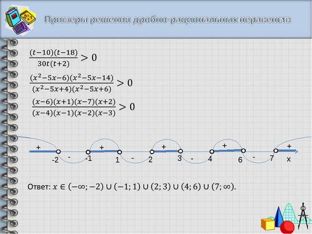 x + + + + + - - - - -2 -1 1 2 3 4 6 7