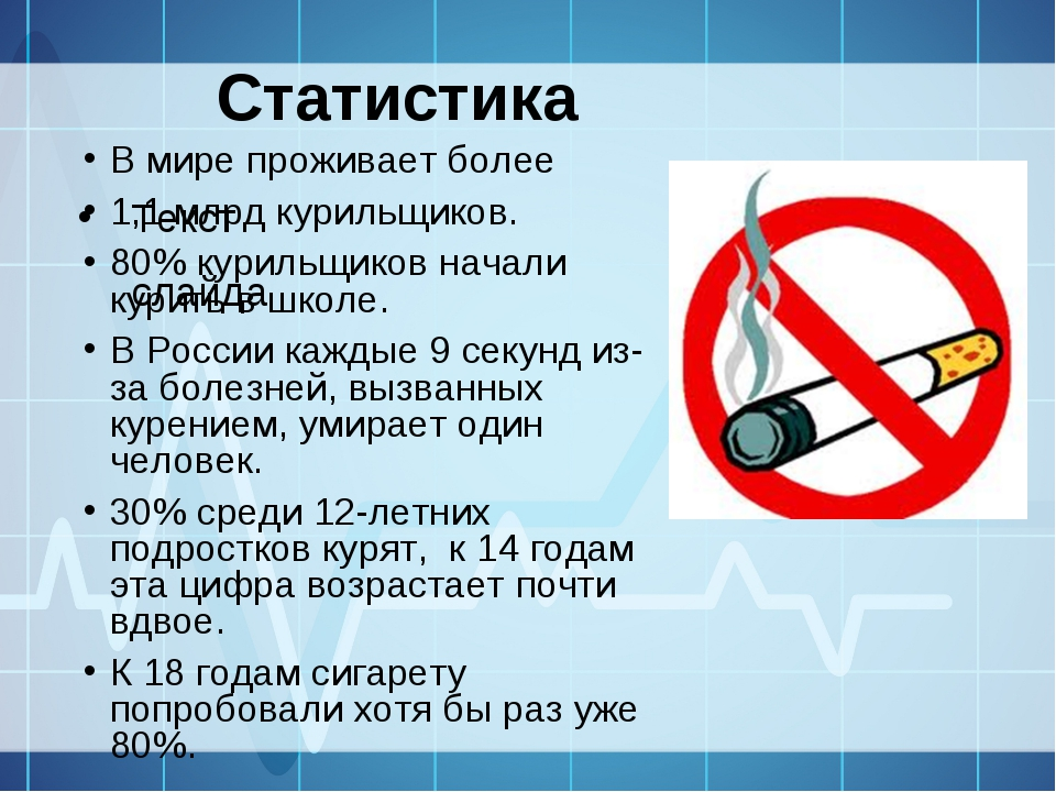 Статистика Текст слайда В мире проживает более 1,1 млрд курильщиков. 80% кури...