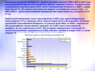 По данным компании VeriSign Inc., администратора доменов COM и NET, в 2003 го