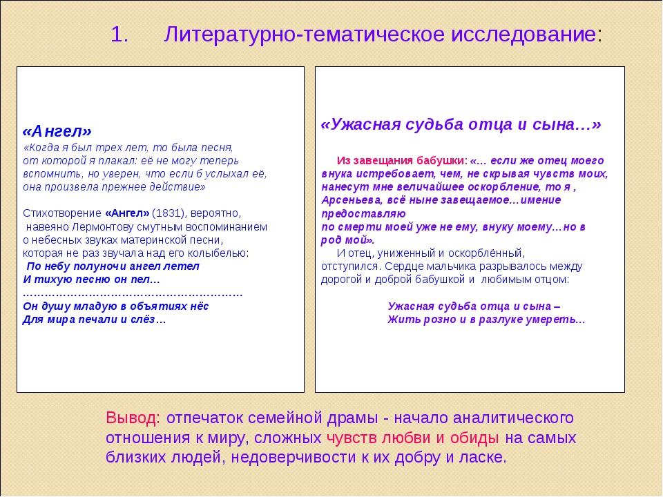 Литературно-тематическое исследование:  «Ангел» «Когда я был трех лет, то б...