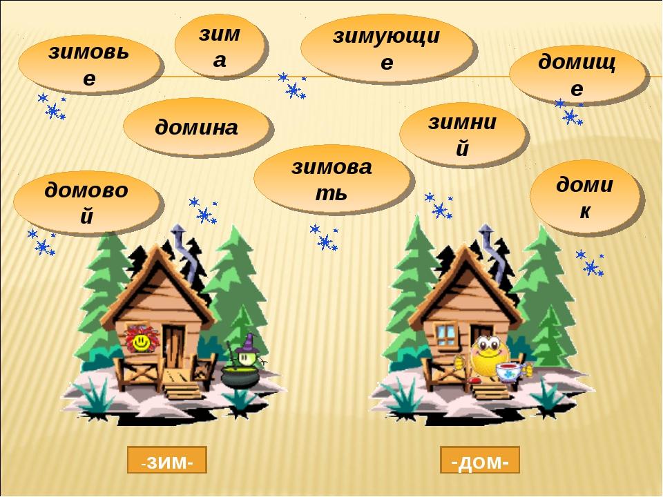 зима домина зимовать зимний домик домовой зимующие домище зимовье -зим- -дом-