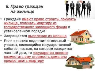 6. Право граждан на жилище Граждане имеют право строить, покупать жилище, пол