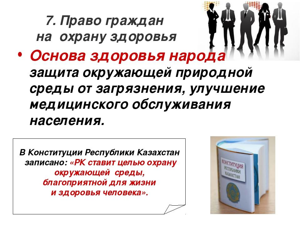 7. Право граждан на охрану здоровья Основа здоровья народа защита окружающей...