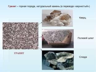 Гранит – горная порода, натуральный камень (в переводе «зернистый») Кварц Слю
