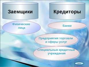 Заемщики Кредиторы Физические лица Банки Предприятия торговли и сферы услуг С