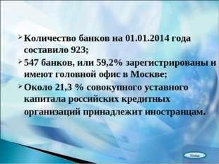 Количество банков на 01.01.2014 года составило 923; 547 банков, или 59,2% зар