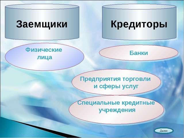 Заемщики Кредиторы Физические лица Банки Предприятия торговли и сферы услуг С...