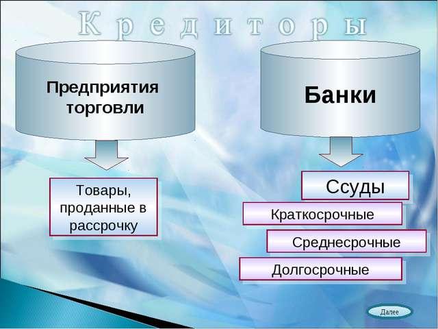 Предприятия торговли Банки Товары, проданные в рассрочку Ссуды Краткосрочные...