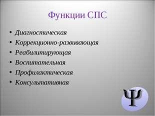 Функции СПС Диагностическая Коррекционно-развивающая Реабилитирующая Воспитат