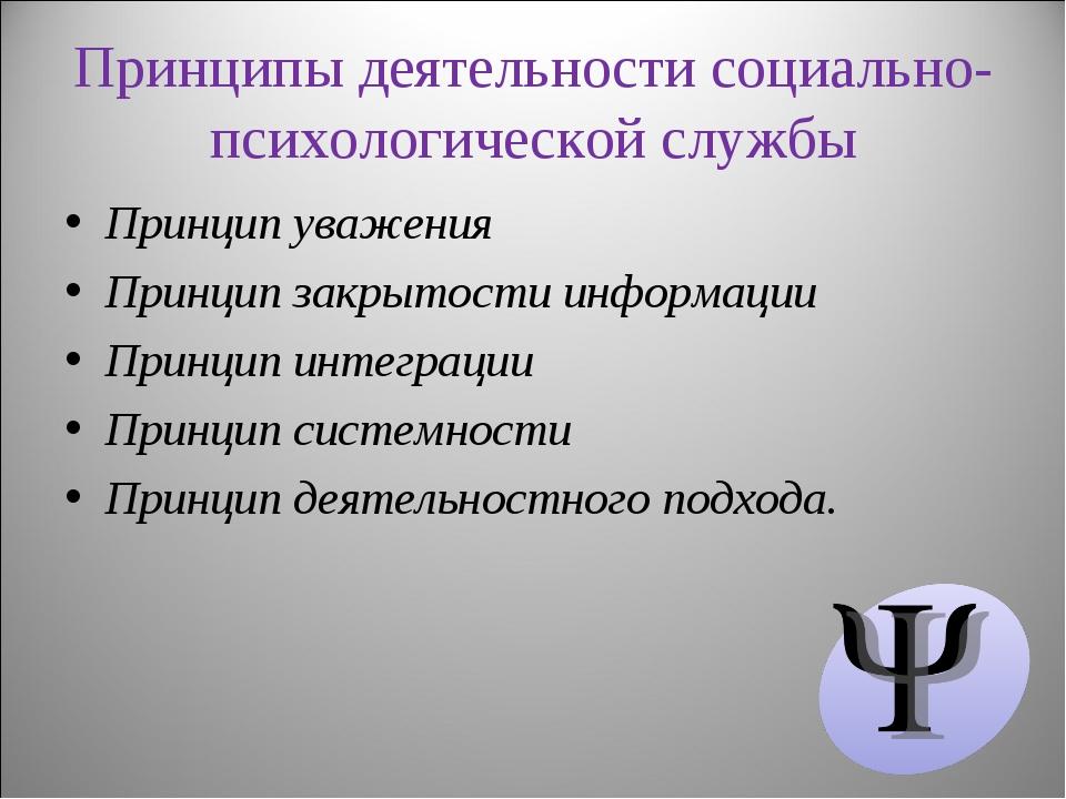 Принципы деятельности социально-психологической службы Принцип уважения Принц...