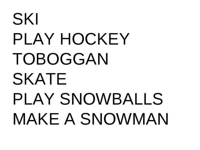 SKI PLAY HOCKEY TOBOGGAN SKATE PLAY SNOWBALLS MAKE A SNOWMAN