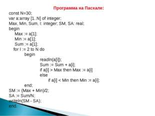 Программа на Паскале: сonst N=30; var a:array [1..N] of integer; Max, Min, Su
