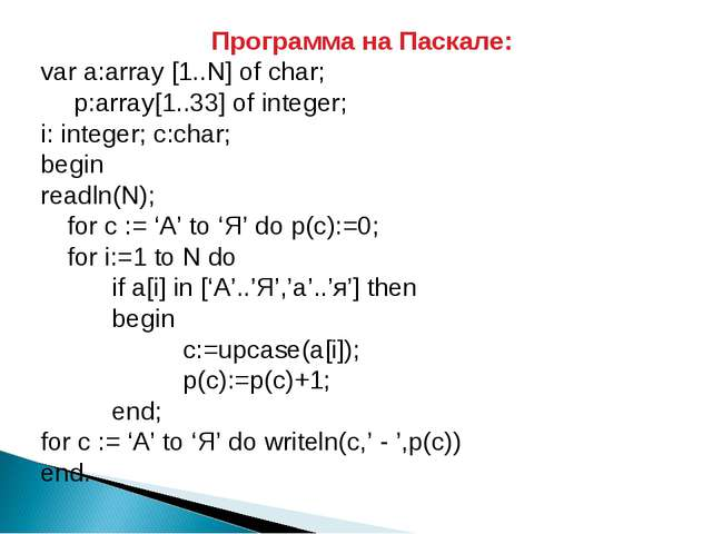 Программа на Паскале: var a:array [1..N] of char; 	 p:array[1..33] of integer...