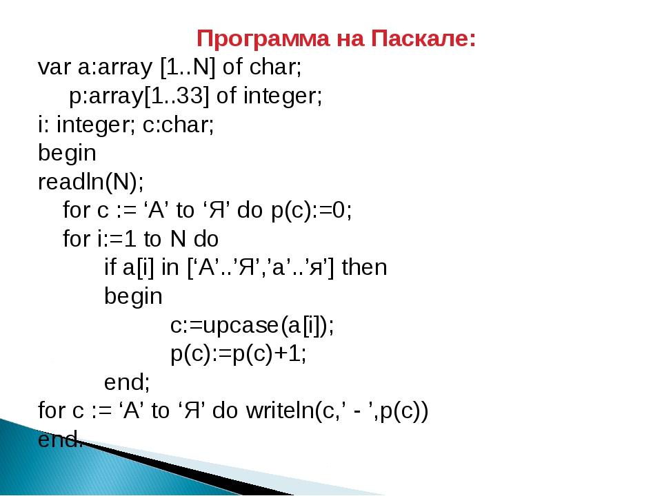 Программа на Паскале: var a:array [1..N] of char;  p:array[1..33] of integer...
