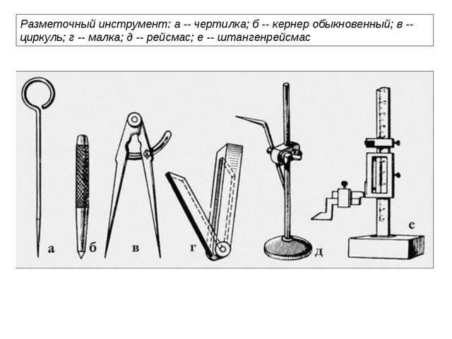 Разметочный инструмент: а -- чертилка; б -- кернер обыкновенный; в -- циркуль...