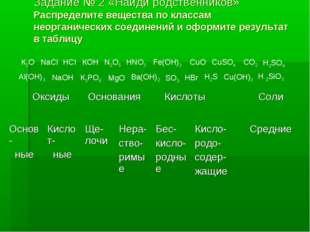 Задание № 2 «Найди родственников» Распределите вещества по классам неорганиче