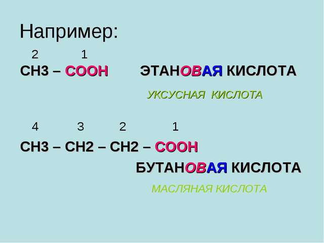 Например: 2 1 СН3 – СООН ЭТАНОВАЯ КИСЛОТА 4 3 2 1 СН3 – СН2 – СН2 – СООН БУТА...