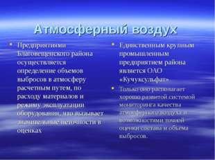 Атмосферный воздух Предприятиями Благовещенского района осуществляется опреде