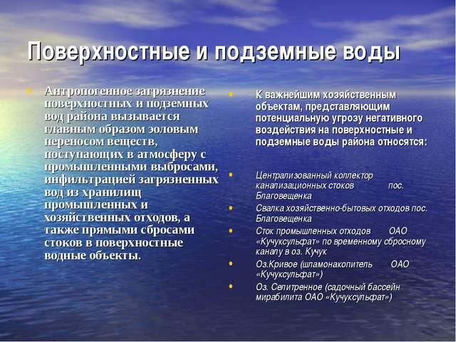 Поверхностные и подземные воды Антропогенное загрязнение поверхностных и подз...
