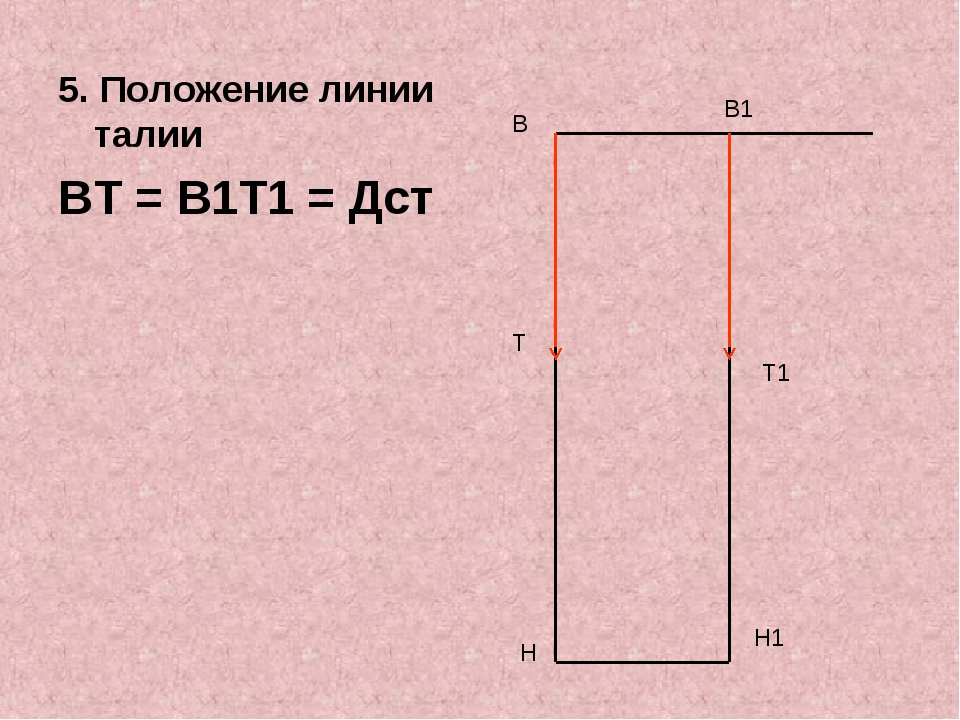 5. Положение линии талии ВТ = В1Т1 = Дст В Н В1 Н1 Т Т1