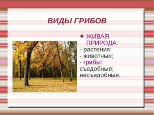 ВИДЫ ГРИБОВ ЖИВАЯ ПРИРОДА: - растения; - животные; - грибы: съедобные; несъед