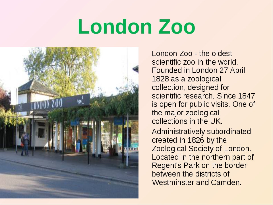 London Zoo London Zoo - the oldest scientific zoo in the world. Founded in Lo...