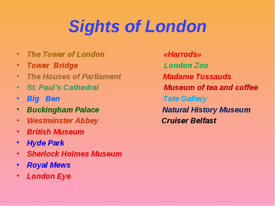 Sights of London The Tower of London «Harrods» Tower Bridge London Zoo The Ho...