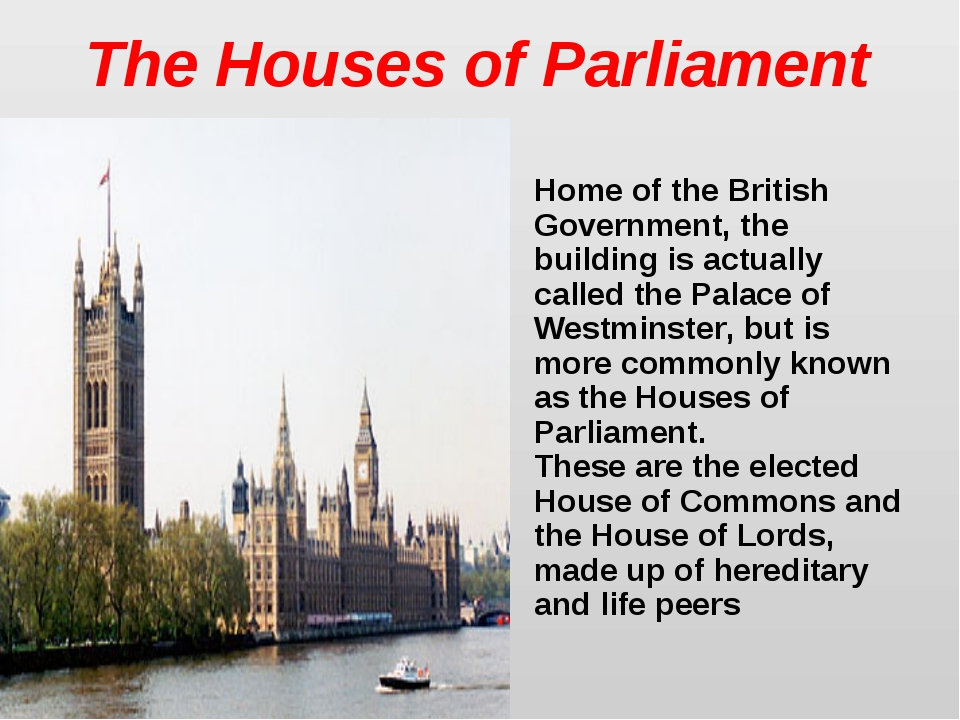 The Houses of Parliament Home of the British Government, the building is actu...