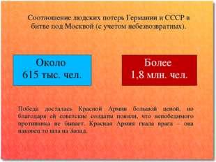 Соотношение людских потерь Германии и СССР в битве под Москвой (с учетом небе
