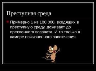 Преступная среда Примерно 1 из 100 000, входящих в преступную среду, доживает