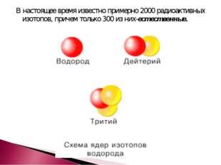 В настоящее время известно примерно 2000 радиоактивных изотопов, причем тольк