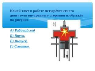 Какой такт в работе четырёхтактного двигателя внутреннего сгорания изображён