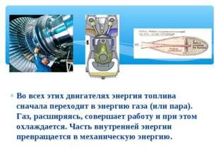 Во всех этих двигателях энергия топлива сначала переходит в энергию газа (или