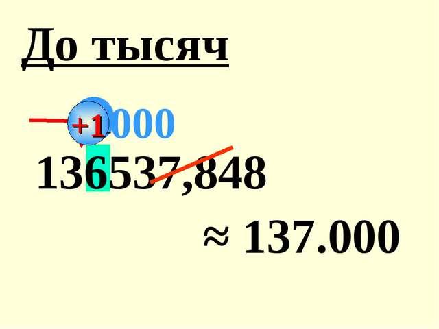 136537,848 ≈ 137.000 До тысяч 000 +1