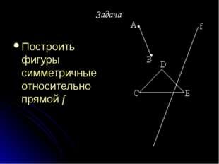 Задача Построить фигуры симметричные относительно прямой f