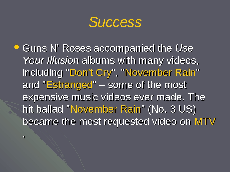 Success Guns N' Roses accompanied the Use Your Illusion albums with many vide...