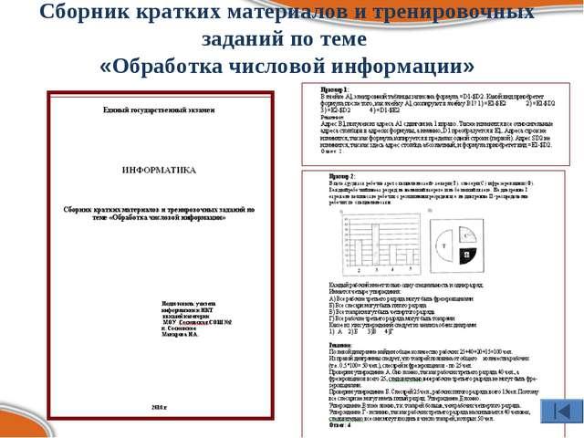 Сборник кратких материалов и тренировочных заданий по теме «Обработка числово...